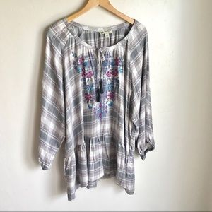 Unity World Wear Plaid Embroidered  Top Size XL